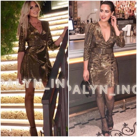 0cf5ead8 Zara Dresses | Vneck Belted Metallic Thread Dress Golden | Poshmark